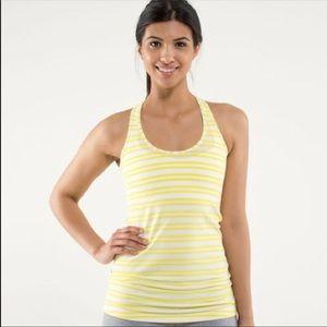 Lululemon• Cool racer back tank yellow stripe